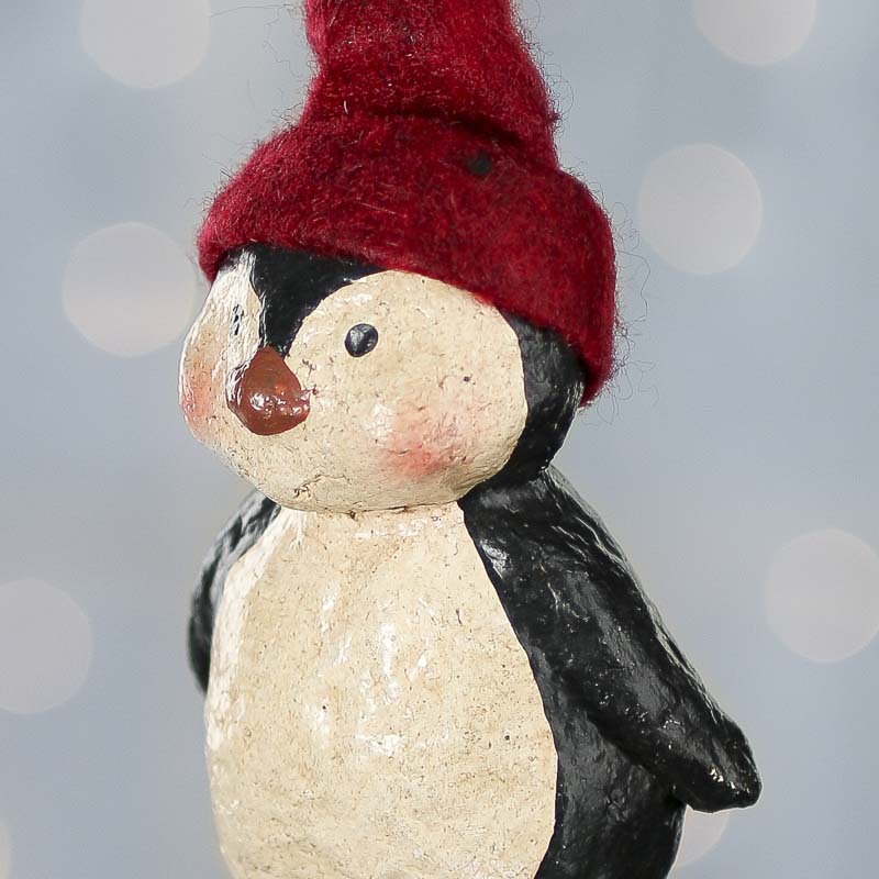 Primitive Paper Clay Penguin Ornament Christmas