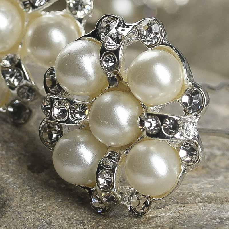Silver Pearl And Crystal Flower Gem Hair Pins Hair