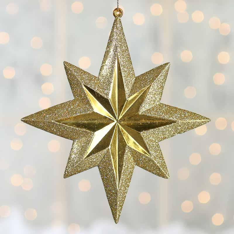 Gold Glittered Star Ornament Christmas Ornaments