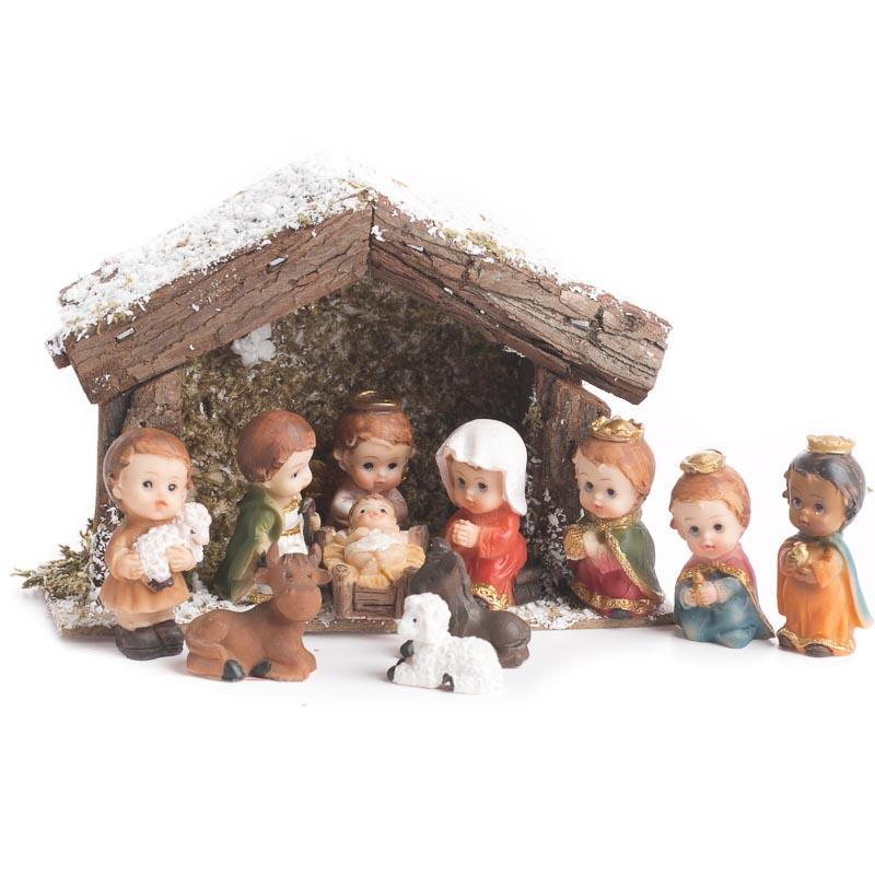 Miniature Child Nativity Character And Stable Set Table
