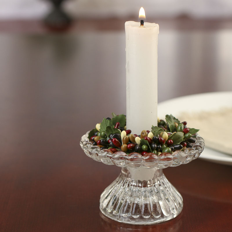 Burgundy Black And Cream Pip Berry Candle Ring Candles
