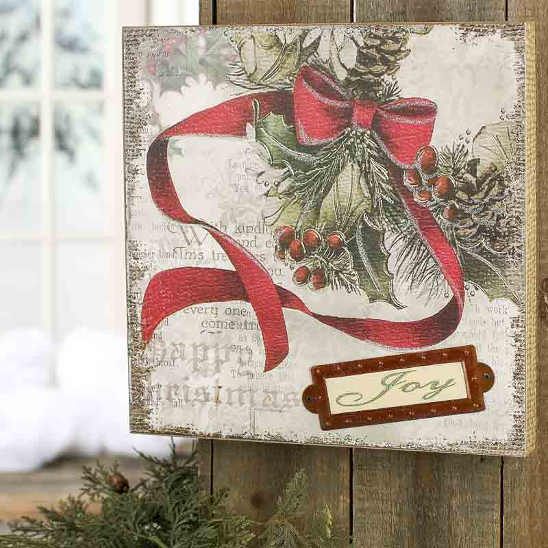 Vintage Inspired Christmas Joy Wall Art Wall Art
