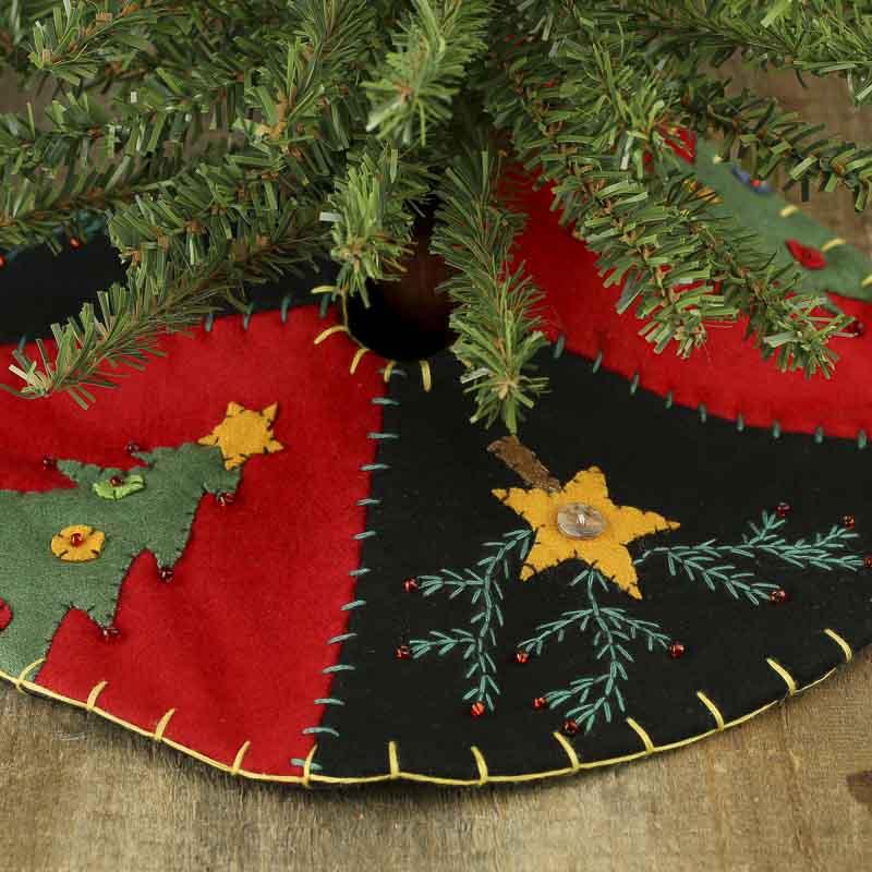 Small Christmas Tree And Star Hand Embroidered Tree Skirt