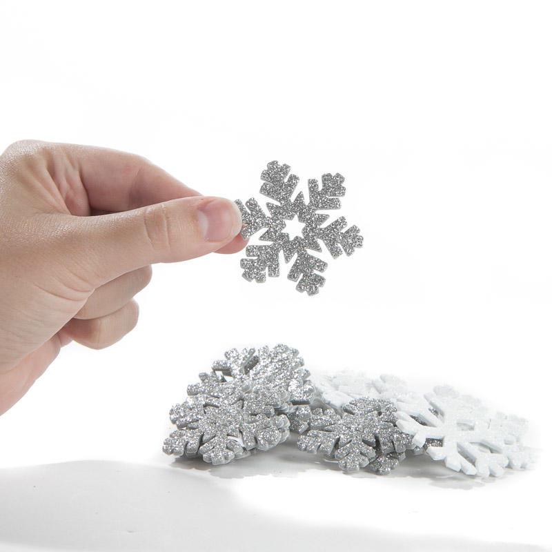 Glittered Snowflake Foam Stickers Snow Snowflakes