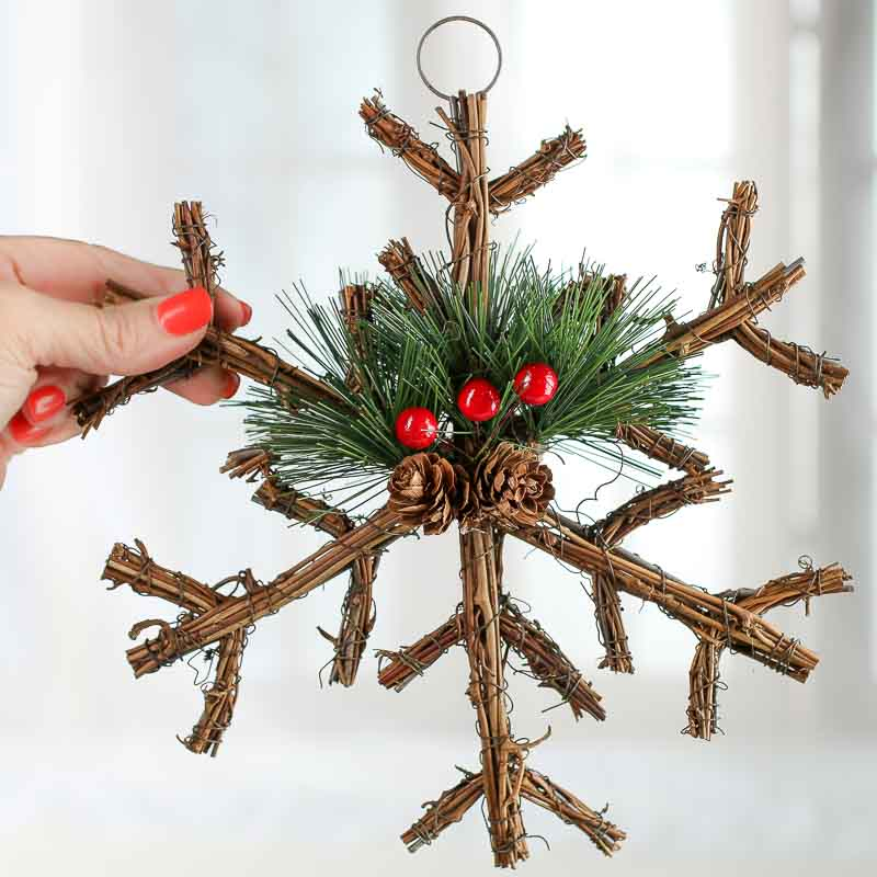 Woodland Twig And Pine Snowflake Ornament Christmas