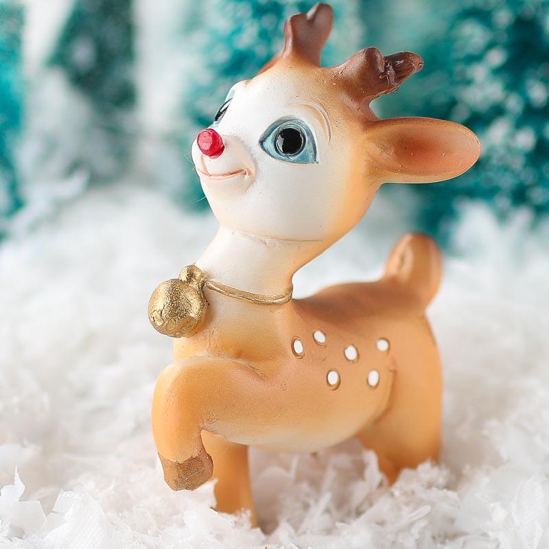 Miniature Baby Rudolph Reindeer Table Decor Christmas