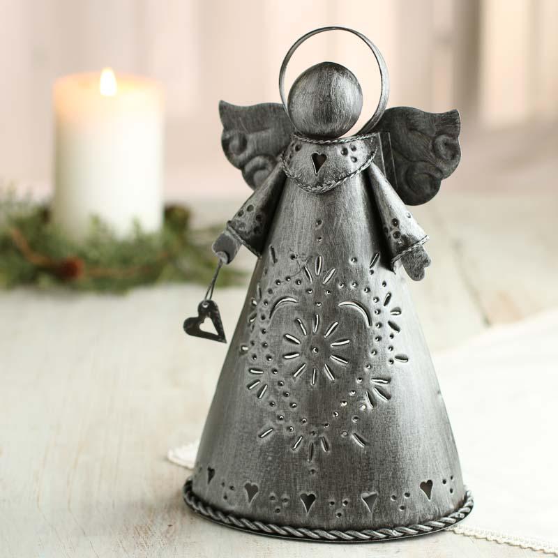 Primitive Brushed Metal Angel Table Decor Christmas