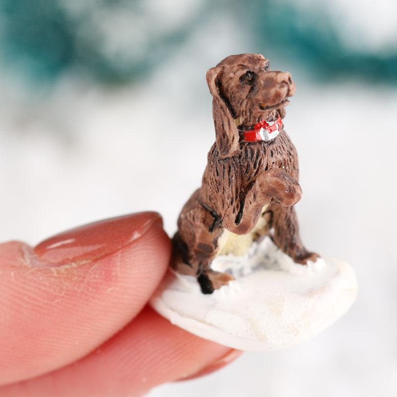 Miniature Cheerful Chocolate Lab Dog Winter Figurine