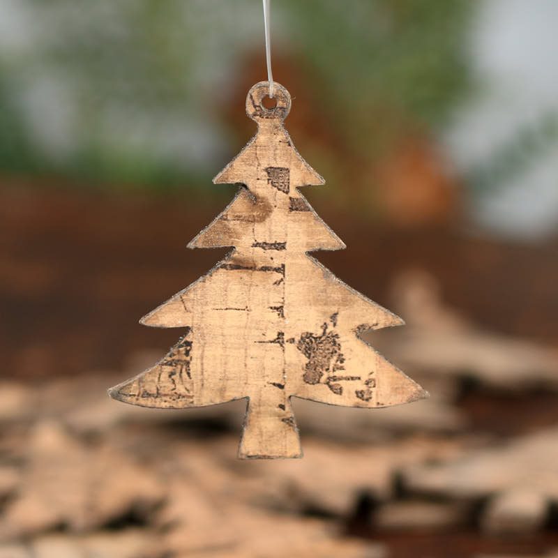 Faux Cork Laser Cut Christmas Tree Ornaments Holiday