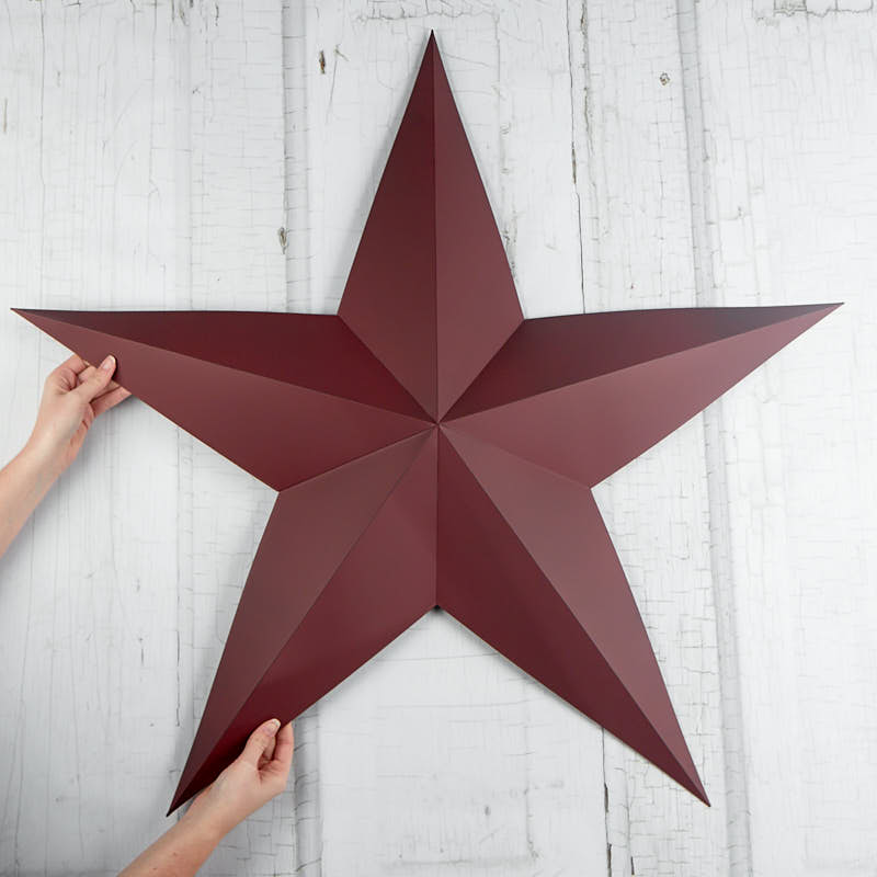 Large Burgundy Dimensional Barn Star Americana Decor