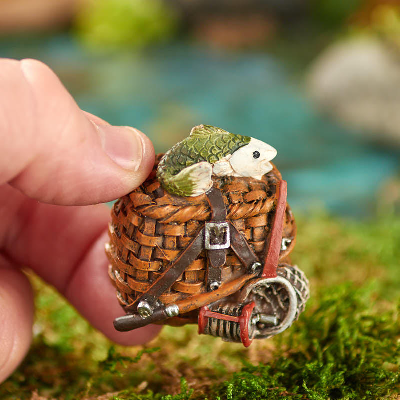 Miniature Fishing Creel Basket Fairy Garden Supplies