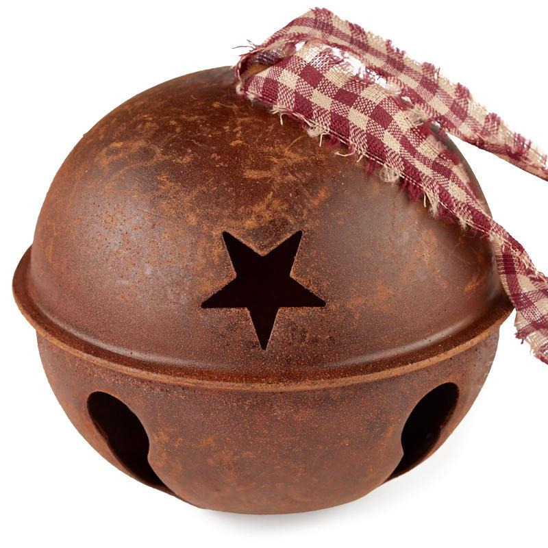 4 Primitive Rusty Tin Jingle Bell Ornament Christmas