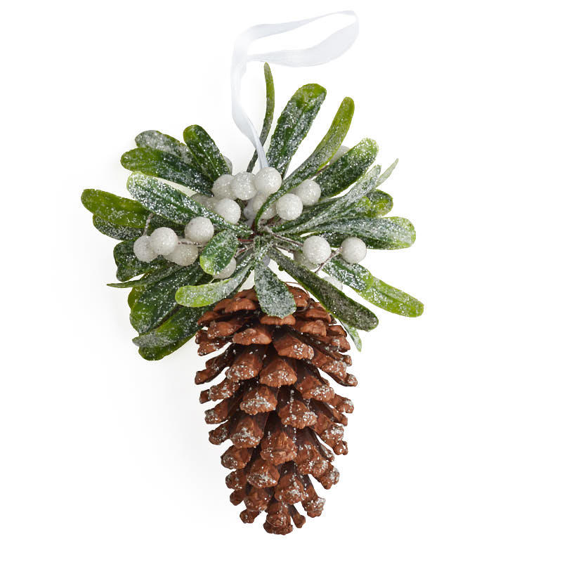 Frosted Mistletoe Pinecone Ornament Christmas Ornaments