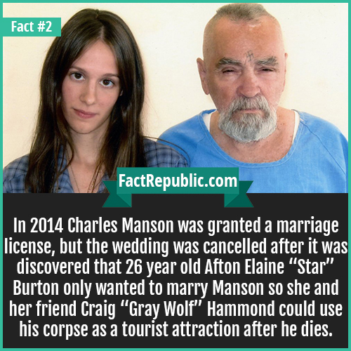 2. Charles Mason-In 2014 Charles Manson was granted a marriage license, but the wedding was cancelled after it was discovered that 26 year old Afton Elaine 'Star' Burton only wanted to marry Manson so she and her friend Craig 'Gray Wolf' Hammond could use his corpse as a tourist attraction after he dies.