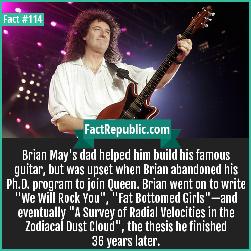114-Brian May-Brian May's dad helped him build his famous guitar, but was upset when Brian abandoned his Ph.D. program to join Queen. Brian went on to write