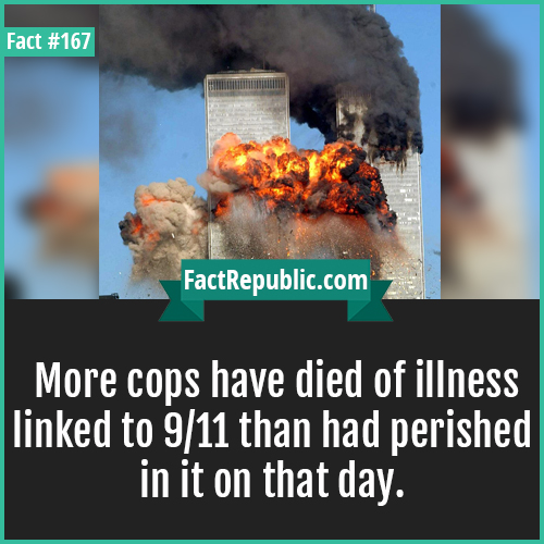 167. Cops died 9.11-More cops have died of illness linked to 9/11 than had perished in it on that day.