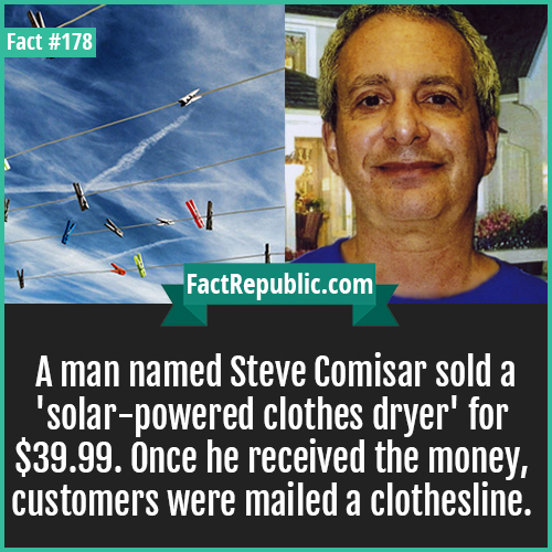 178. steve comisor solar dryer-A man named Steve Comisar sold a 'solar-powered clothes dryer' for $39.99. Once he received the money, customers were mailed a clothesline.