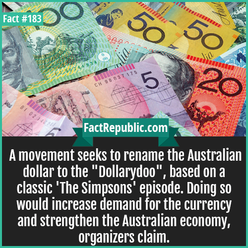 183. DollarDoo-A movement seeks to rename the Australian dollar to the 'Dollarydoo', based on a classic 'The Simpsons' episode. Doing so would increase demand for the currency and strengthen the Australian economy, organizers claim.