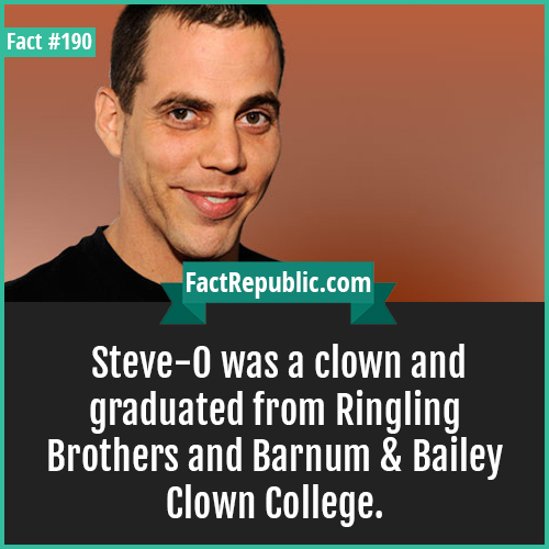 190. steve o-Steve-O was a clown and graduated from Ringling Brothers and Barnum & Bailey Clown College.