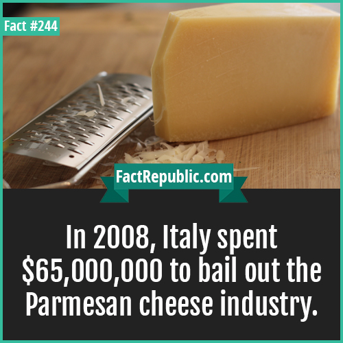 244. Cheese-In 2008, Italy spent $65,000,000 to bail out the Parmesan cheese industry.