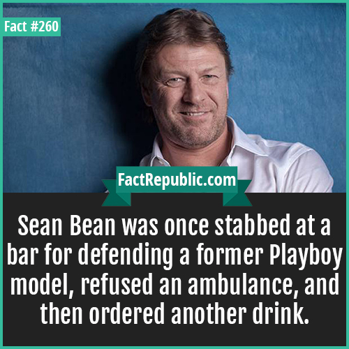 260. Sean Bean-Sean Bean was once stabbed at a bar for defending a former Playboy model, refused an ambulance, and then ordered another drink.