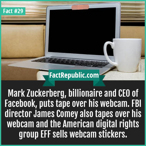 29. Webcam tape-Mark Zuckerberg, billionaire and CEO of Facebook, puts tape over his webcam. FBI director James Comey also tapes over his webcam and the American digital rights group EFF sells webcam stickers.