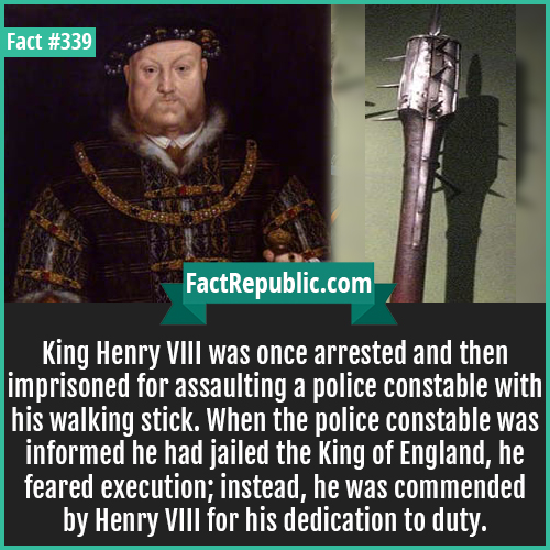 339-KingHenry8-King Henry VIII was once arrested and then imprisoned for assaulting a police constable with his walking stick. When the police constable was informed he had jailed the King of England, he feared execution; instead, he was commended by Henry VIII for his dedication to duty.