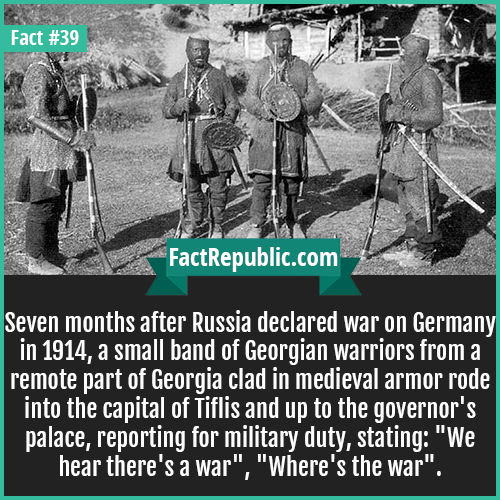 39-georgian-warriors-Seven months after Russia declared war on Germany in 1914, a small band of Georgian warriors from a remote part of Georgia clad in medieval armor rode into the capital of Tiflis and up to the governor's palace, reporting for military duty, stating: