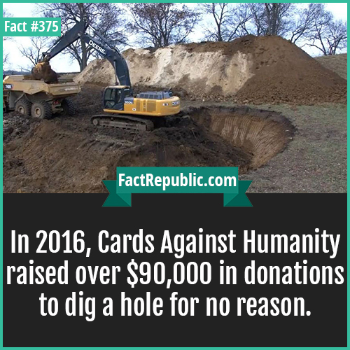 375. Hole digging-In 2016, Cards Against Humanity raised over $90,000 in donations to dig a hole for no reason.