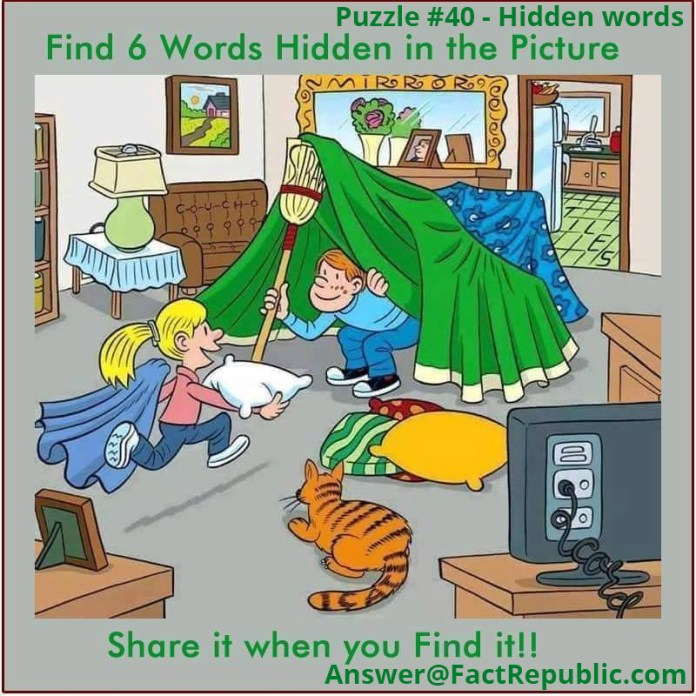 Puzzle 40-Hidden Words Puzzle. Find 6 Words Hidden in the Picture. SHare it when you find it.