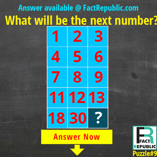 What will be the next number? Puzzle #9. 1 2 3  4 5 6 7 8 9 11 12 13 18 30 ?