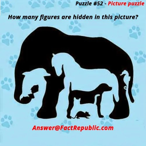 Puzzle 52 - Picture Puzzle. How many hidden figures are in this puzzle - Answer