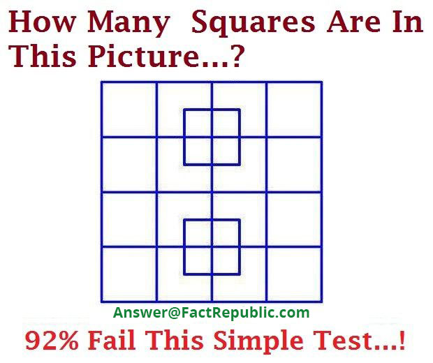 FactRepublic Square Puzzle Answer. How many squares are in this picture. 92% Fail This Simple Test.