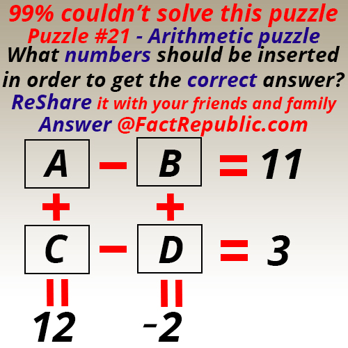 Puzzle #21 – Arithmetic Puzzle
