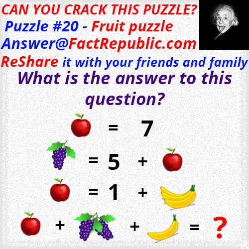 Puzzle #20 – Fruit Puzzle. Can you crack this puzzle. What is the answer to this question