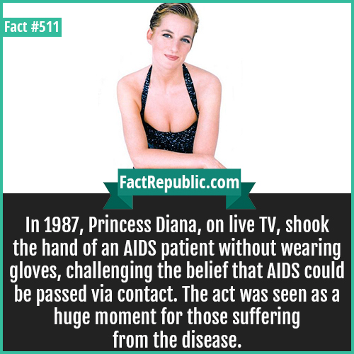511-Diana shook hand AIDS-In 1987, Princess Diana, on live TV, shook the hand of an AIDS patient without wearing gloves, challenging the belief that AIDS could be passed via contact. The act was seen as a huge moment for those suffering from the disease.