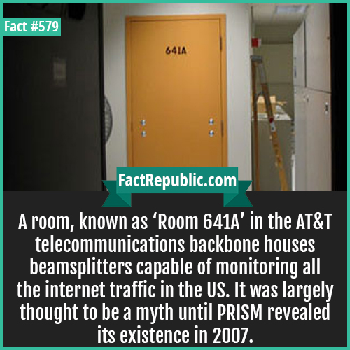 579. Room 641-A room known as 'Room 641A' in the AT&T telecommunicaitons backbone houses beamsplitters capable of monitoring all the internet traffic in the US. It was largely though to be a myth until PRISM revelaed its existence in 2007.