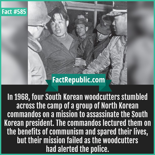 585. Blue house raid-In 1968, four South Korean woodcutters stumbled across the camp of a group of North Korean commandos on a mission to assassinate the South Korean president. The commandos lectured them on the benefits of communism and spared their lives, but their mission failed as the woodcutters had alerted the police.