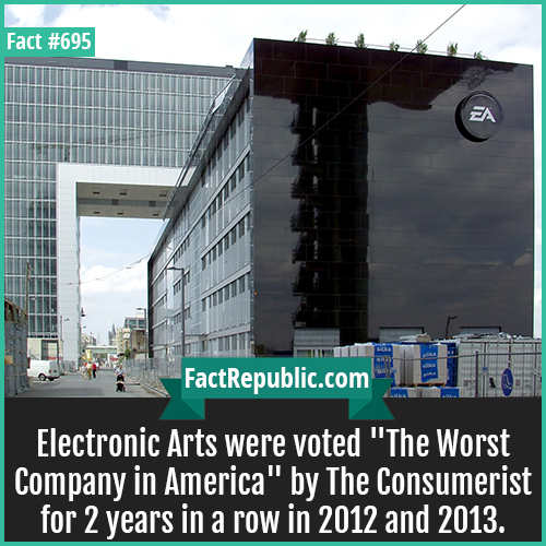 695. Electronic Arts Worst Company-Electronic Arts were voted 'The Worst Company in America' by The Consumerist for 2 years in a row in 2012 and 2013.