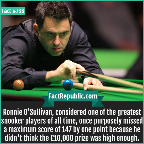 738. Ronnie O'Sullivan-Ronnie O'Sullivan, considered one of the greatest snooker players of all time, once purposely missed a maximum score of 147 by one point because he didn't think the £10,000 prize was high enough.