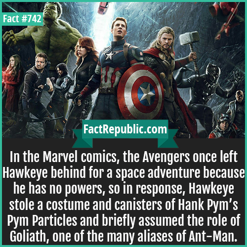 742. Avengers Infinity War Hawkeye Fact-In the Marvel comics, the Avengers once left Hawkeye behind for a space adventure because he has no powers, so in response, Hawkeye stole a costume and canisters of Hank Pym's Pym Particles and briefly assumed the role of Goliath, one of the many aliases of Ant-Man.