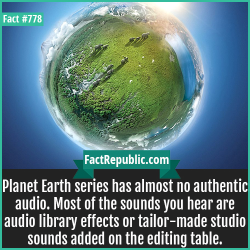 778. Planet Earth Audio-Planet Earth series has almost no authentic audio. Most of the sounds you hear are audio library effects or tailor-made studio sounds added on the editing table.