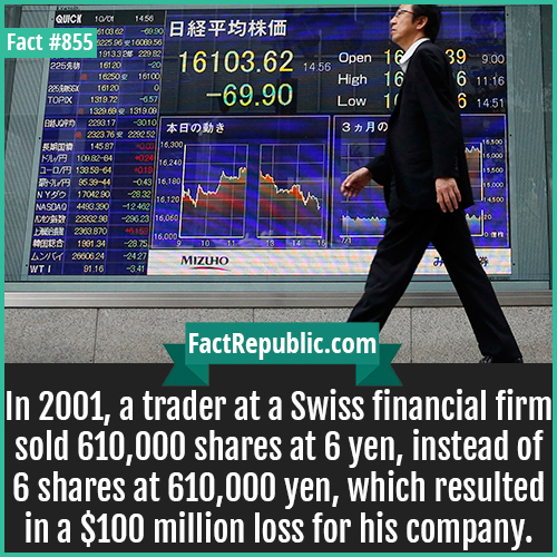 855. Fat Finger Error-In 2001, a trader at a Swiss financial firm sold 610,000 shares at 6 yen, instead of 6 shares at 610,000 yen, which resulted in a $100 million loss for his company.