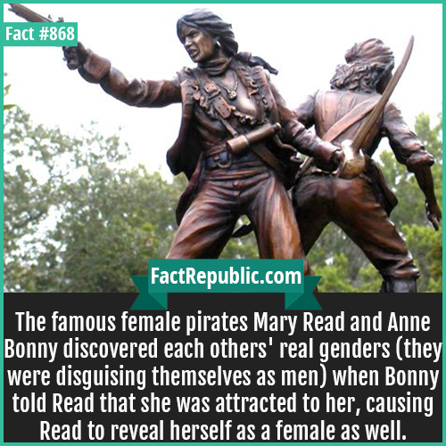 868. Mary Read Anne Bonny-The famous female pirates Mary Read and Anne Bonny discovered each others' real genders (they were disguising themselves as men) when Bonny told Read that she was attracted to her, causing Read to reveal herself as a female as well.