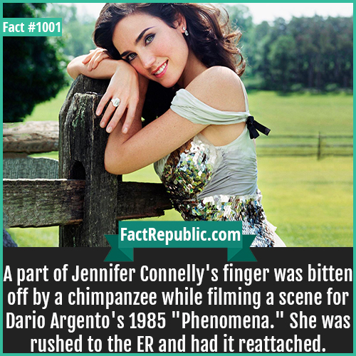 1001. Jennifer Connelly-A part of Jennifer Connelly's finger was bitten off by a chimpanzee while filming a scene for Dario Argento's 1985 'Phenomena.' She was rushed to the ER and had it reattached.