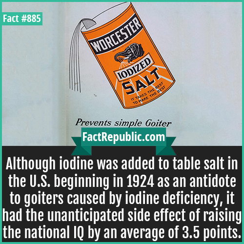 885. Iodized Salt IQ-Although iodine was added to table salt in the U.S. beginning in 1924 as an antidote to goiters caused by iodine deficiency, it had the unanticipated side effect of raising the national IQ by an average of 3.5 points.