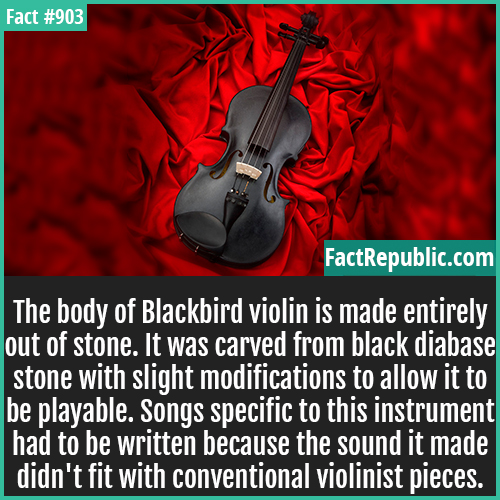903. Blackbird violin-The body of Blackbird violin is made entirely out of stone. It was carved from black diabase stone with slight modifications to allow it to be playable. Songs specific to this instrument had to be written because the sound it made didn't fit with conventional violinist pieces.