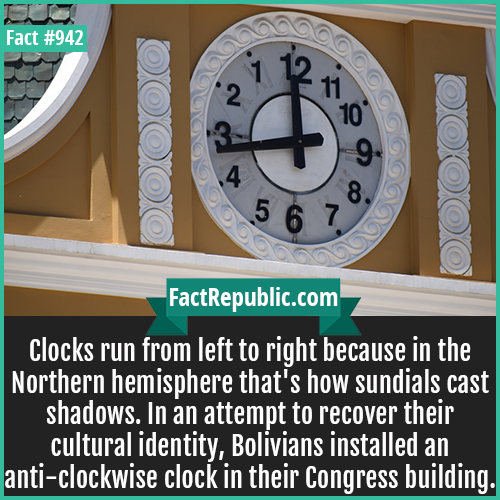 942. Bolivian Anticlockwise Clock-Clocks run from left to right because in the Northern hemisphere that's how sundials cast shadows. In an attempt to recover their cultural identity, Bolivians installed an anti-clockwise clock in their Congress building.