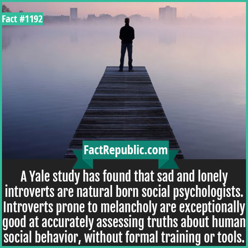 1192. Social Psychologists-A Yale study has found that sad and lonely introverts are natural born social psychologists. Introverts prone to melancholy are exceptionally good at accurately assessing truths about human social behavior, without formal training or tools.