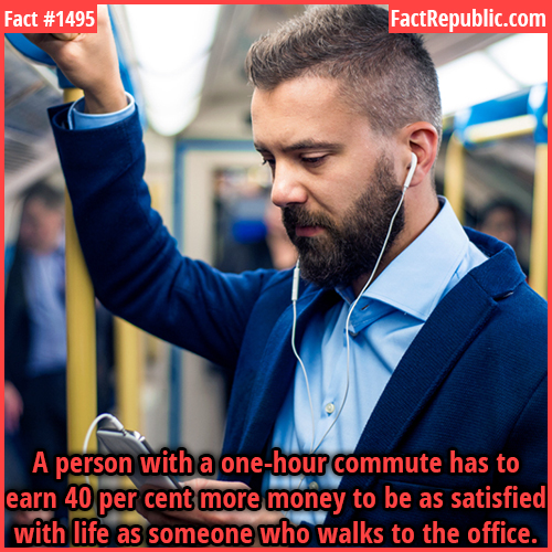 1495. Income Satisfaction-A person with a one-hour commute has to earn 40 percent more money to be as satisfied with life as someone who walks to the office.